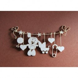 Chipboard -Baby toys on a string