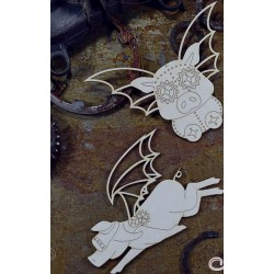 Chipboard  STEAMPUNK /  Winged Pigs