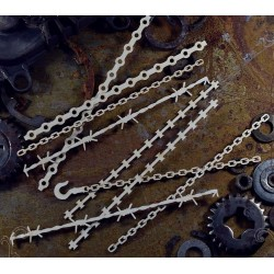 Chipboard  STEAMPUNK / Chains and barbed wires