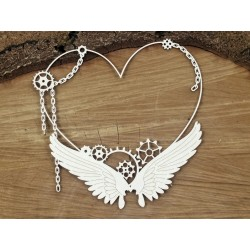 Chipboard  STEAMPUNK / Flying hearts big frame