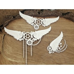 Chipboard  STEAMPUNK /  Big chained wings