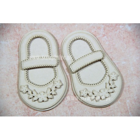 Chipboard - Girl's Shoes / flowers