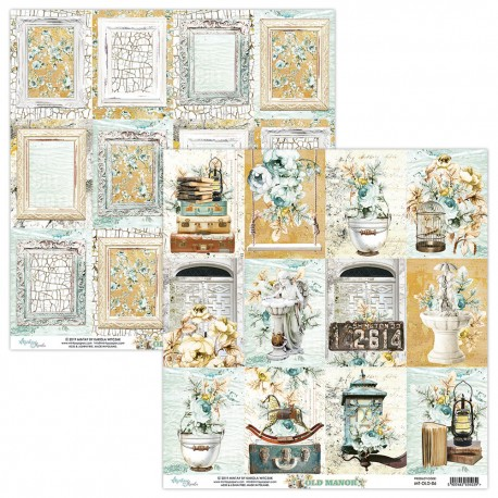 Scrapbooking Paper- 12x12 Sheet - OLD MANOR 06