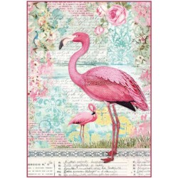 A4 Rice Paper - PINK FLAMINGO
