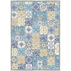 A3 Rice Paper - BLUE AND OCHER TILE