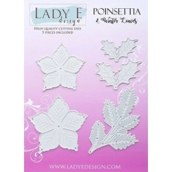 Lady E Design  Dies Flower /  Poinsettia & Winter Leaves
