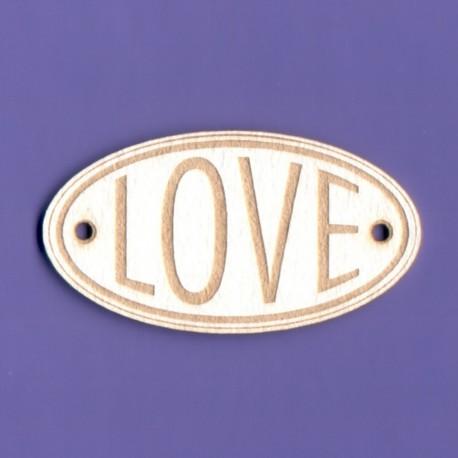 """Chipboard -""""Love"""" in oval"""