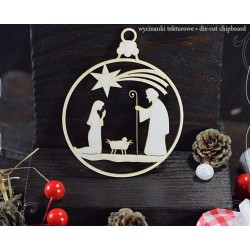 CHIPBOARD - Nativity Scene in Christmas Bauble