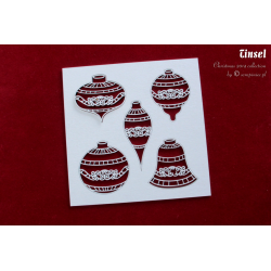 Chipboard - Big set of Tinsel Baubles - 5pcs