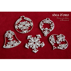 "Chipboard - Big set of ""Idea d'oro"" Baubles - 5pcs"