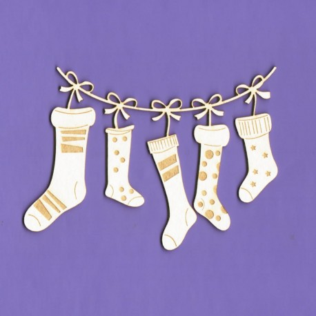 Chipboard - Garland of  Santa's socks