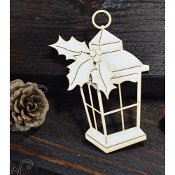 Chipboard - Lantern with Holly/ medium