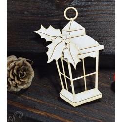 Chipboard - Lantern with Holly/ medium