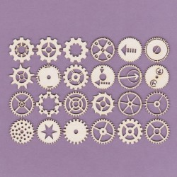 Chipboard - Steampunk/Set of small  Gears/ 24pcs
