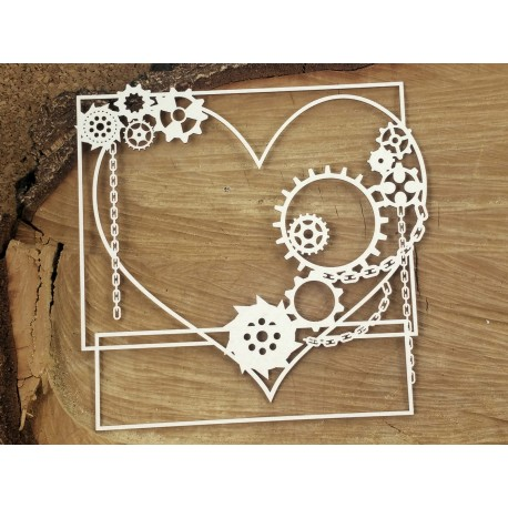 Chipboard - Steampunk/  Big square frame heart