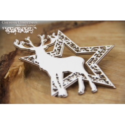 Chipboard - Layered Star with reindeer
