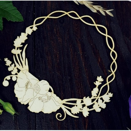 Chipboard - Poppies and lavender wreath