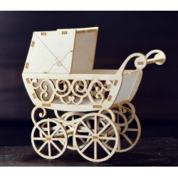 Chipboard 3D  - Retro Baby Pram