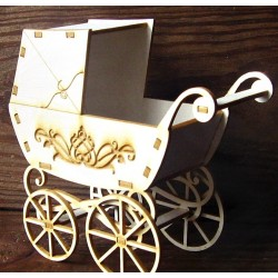 Chipboard 3D  - Retro Baby Pram /engraved