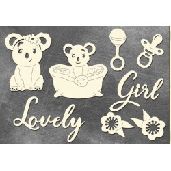 "Chipboard - Set "" Puffy Fluffy Girl"""