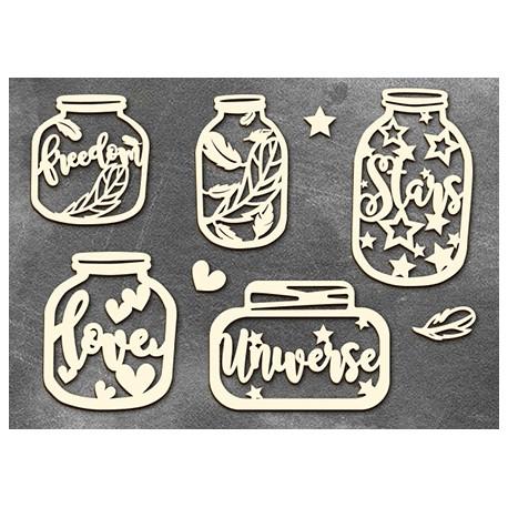Chipboard - Words in a jars