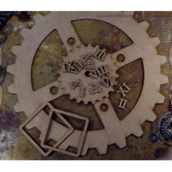 MDF -Large Shape - GEAR WHEEL CLOCK