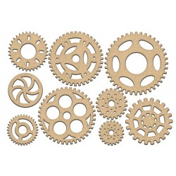 MDF - Set of Gears / 9 pcs