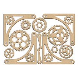 MDF - Set of gears  and corners / 16 pcs