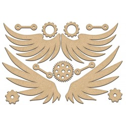 MDF - Set of wings  and gears / 13 pcs