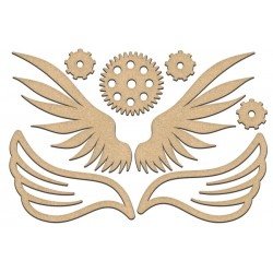 MDF - Set of wings  and gears / 8 pcs