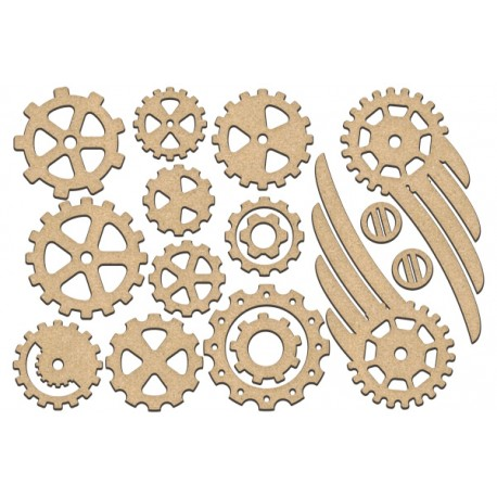 MDF - Set of wings  and gears / 16 pcs