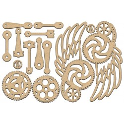 MDF - Set of wings  and gears / 14 pcs