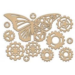 MDF - Steampunk Butterfly + 11 gears ( big)