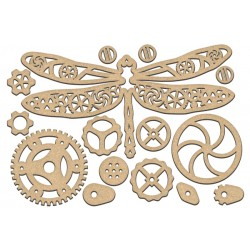 MDF - Steampunk Dragonfly + 14 gears ( big)