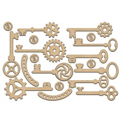 MDF - Steampunk Keys / set of 19 pcs