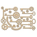 MDF - Steampunk Keys / set of 19 pcs