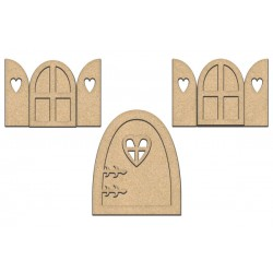 MDF - Large Fairy Doors and windows / 7 pcs