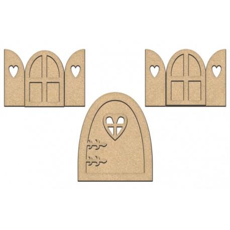 MDF - Large Fairy Doors and windows / 7 pcs