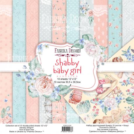 Scrapbooking Paper Shabby Baby Girl 12x12