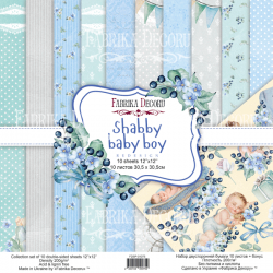 Scrapbooking Paper - SHABBY BABY BOY ( 12X12 )