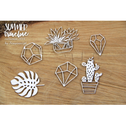 Chipboard  - Succulents / 6pcs