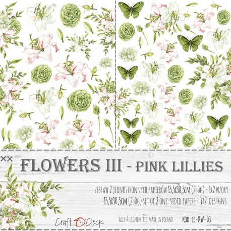 Scrapbooking Papers -FLOWERS - II - A SET OF EXTRAS TO CUT - PINK LILLIES