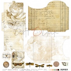 Scrapbooking Paper- 12x12 A SHEET WITH ENVELOPES TO CUT/ Vintage Bisou