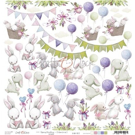 Scrapbooking Paper- 12x12  SHEET OF EXTRAS TO CUT/ Spring Bustling