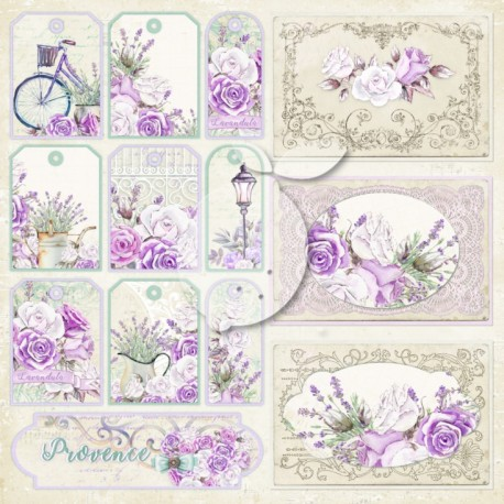 Scrapbooking Paper- 12x12  SHEET OF EXTRAS TO CUT/ My Sweet Provence