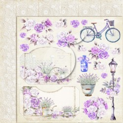 Scrapbooking Paper- 12x12 A SHEET WITH ENVELOPES TO CUT/ Sweet Provence