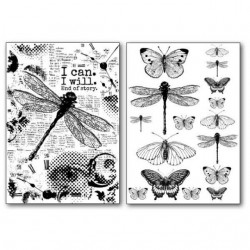 Stamperia Transfer Paper A4 - Dragonflies + Butterflies / 2 sheets