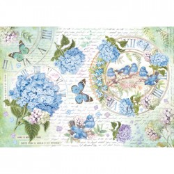 A3 Rice Paper - HYDRANGEA AND BIRDS