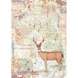 A4 Rice Paper - PINK CHRISTMAS REINDEER