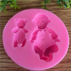 Silicone Mold - Baby and Teddy Bear